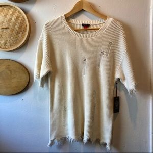 NWT Vince Camuto distressed sweater top